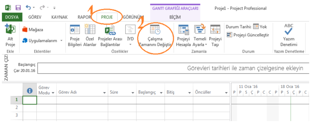 Microsoft Project Calendar